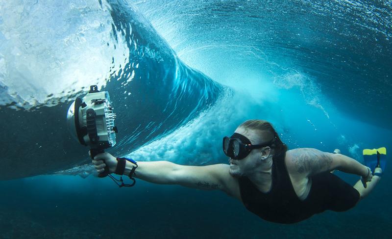 Carcasa estaca camara reflex fotografia de surf