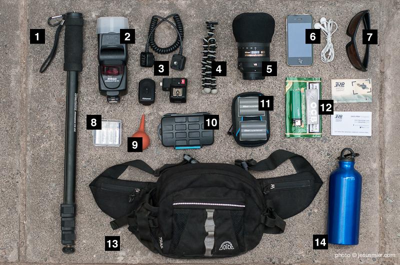 Accesorios fotografia en riñonera de fotografia