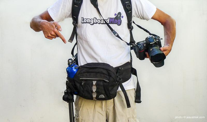 Cinturón de fotografía improvisado con una riñonera