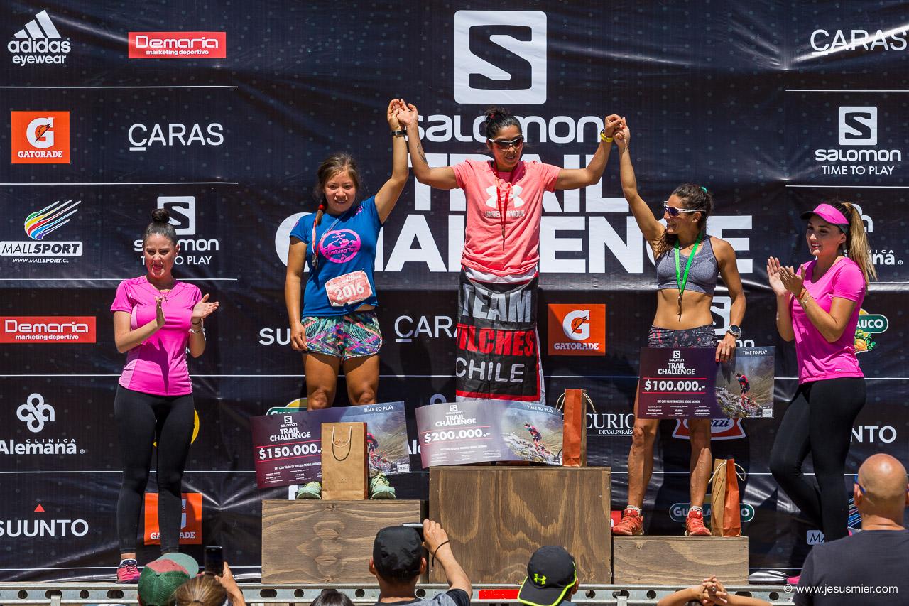 Podio Mujeres Salomon Trail Challenge 2018. Foto: Jesus Mier