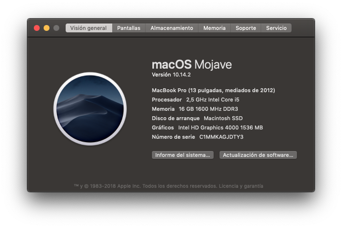 acerca de este mac, ampliacion macbook pro 13