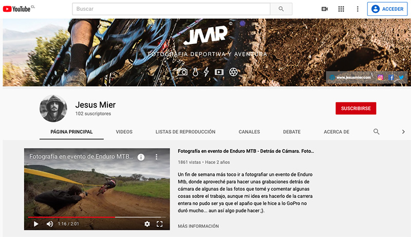 proyecto personal fotografo canal youtube